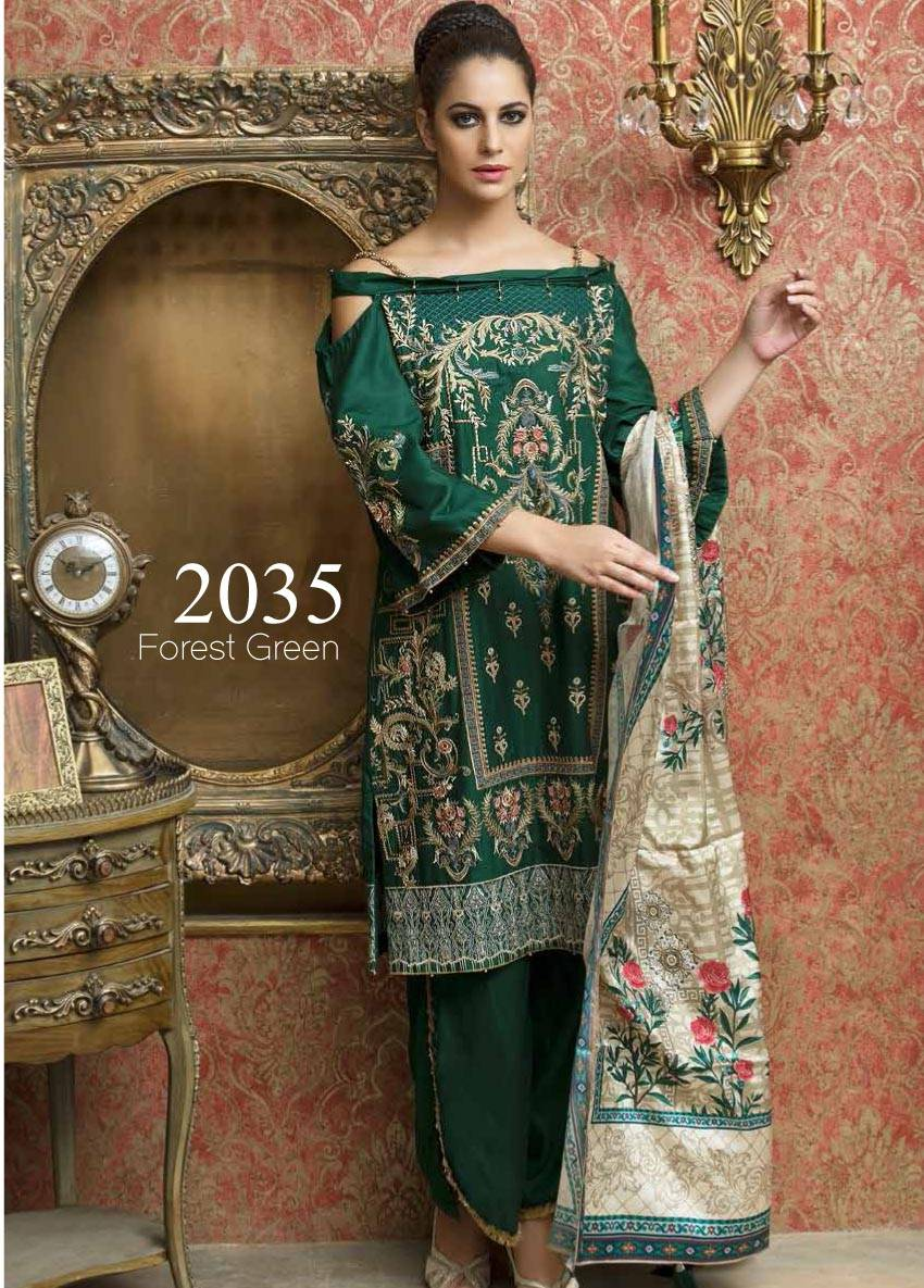 Motifz Embroidered Linen Unstitched 3 Piece Suit MT17W2 2035 Forest Green