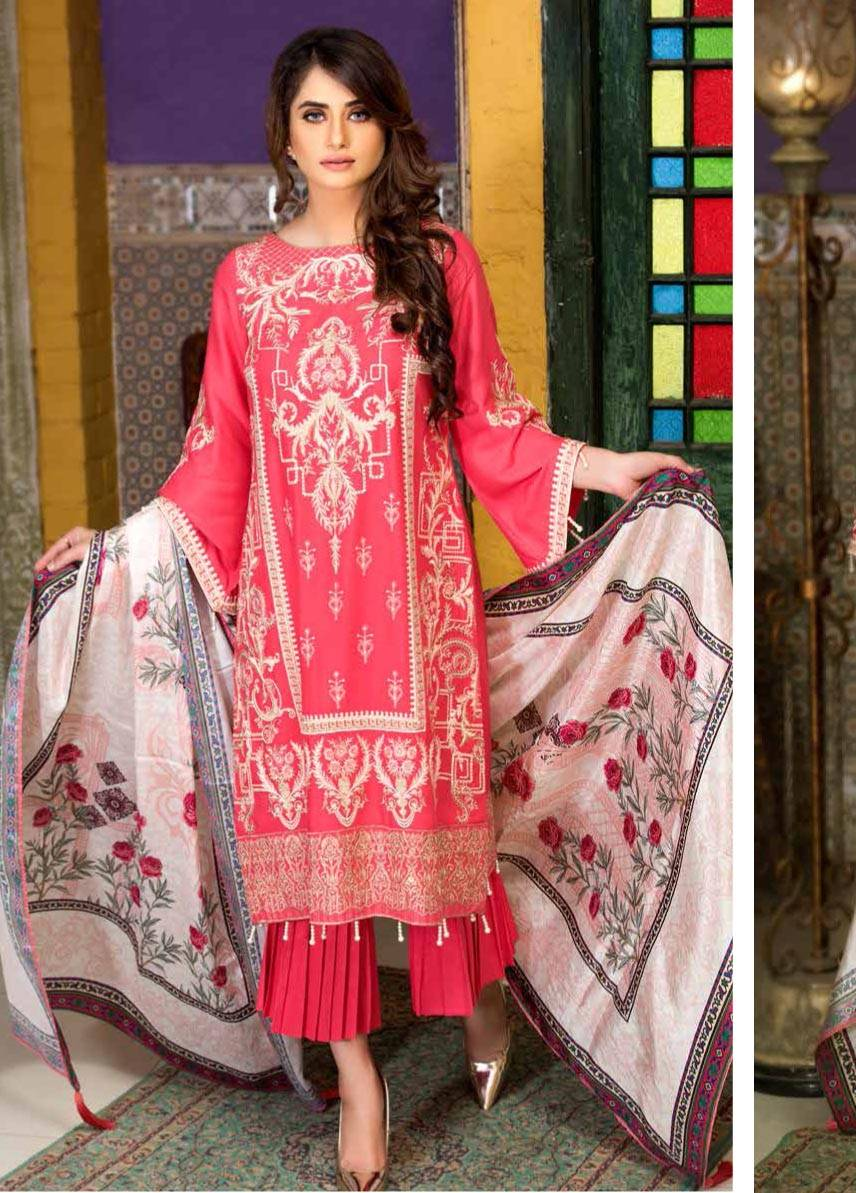 Motifz Embroidered Linen Unstitched 3 Piece Suit MT17W2 2035 Rouge Pink