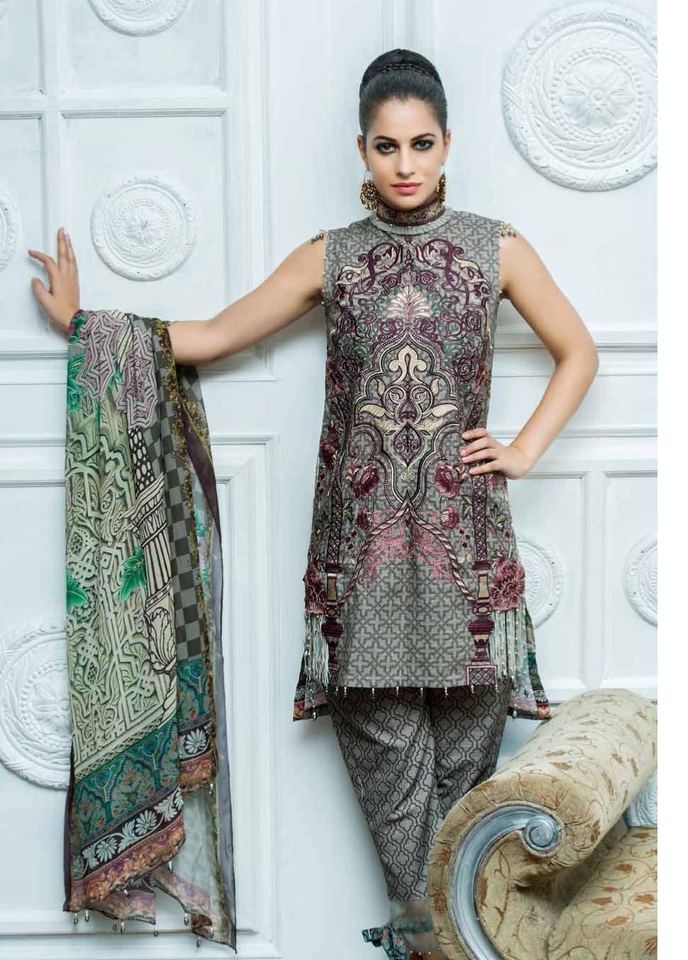 Motifz Embroidered Khaddar Unstitched 3 Piece Suit MT17W2 2036 Print-A