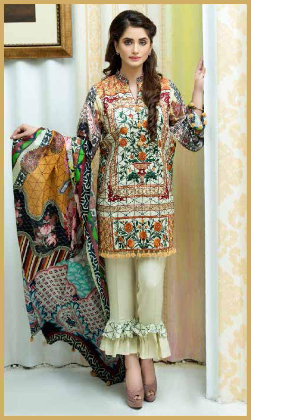 Motifz Embroidered Karandi Unstitched 3 Piece Suit MT17W2 2038 Print-B