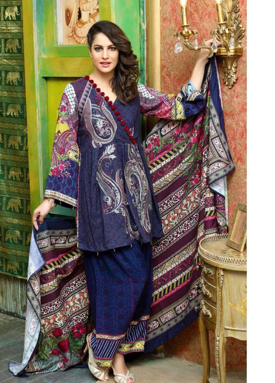 Motifz Embroidered Karandi Unstitched 3 Piece Suit MT17W2 2040 Print-B