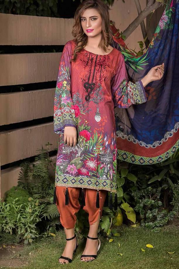 Motifz Printed Linen Unstitched 3 Piece Suit MT17W3 1883A