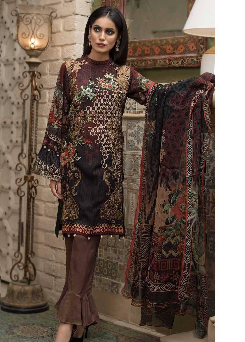 Motifz Embroidered Linen Unstitched 3 Piece Suit MT17W 1874A