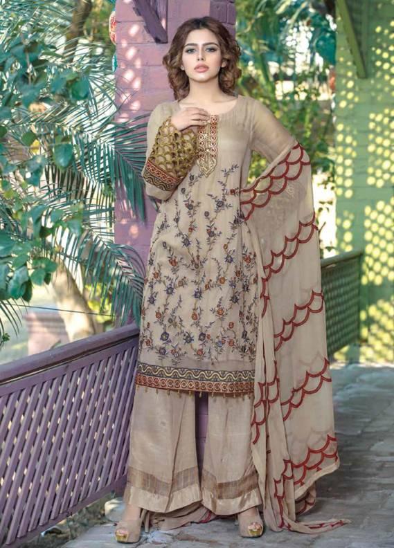 Motifz Embroidered Chiffon Unstitched 3 Piece Suit MT18C 2011 Beige