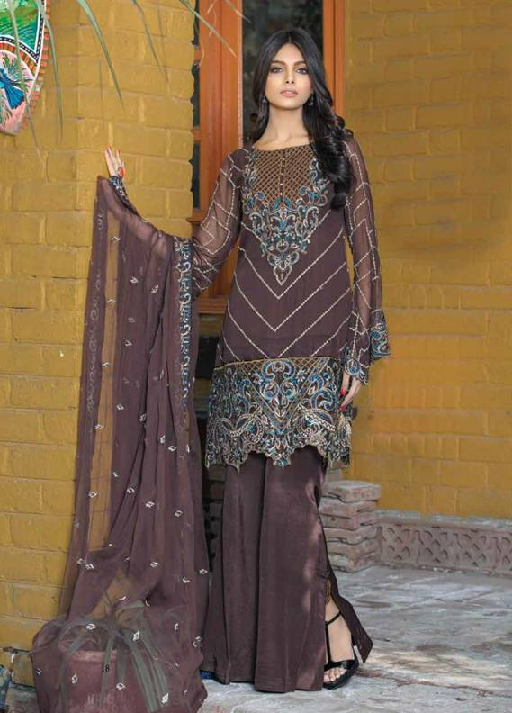 Motifz Embroidered Chiffon Unstitched 3 Piece Suit MT18C 2014 Choclate