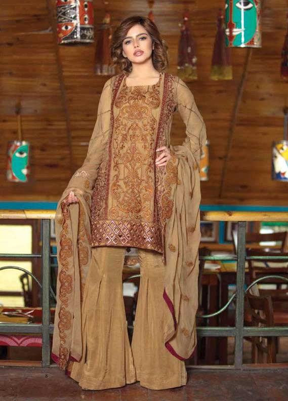Motifz Embroidered Chiffon Unstitched 3 Piece Suit MT18C 2017 Brown