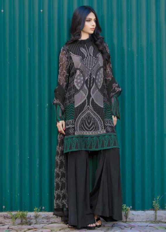 Motifz Embroidered Chiffon Unstitched 3 Piece Suit MT18C 2018 Black