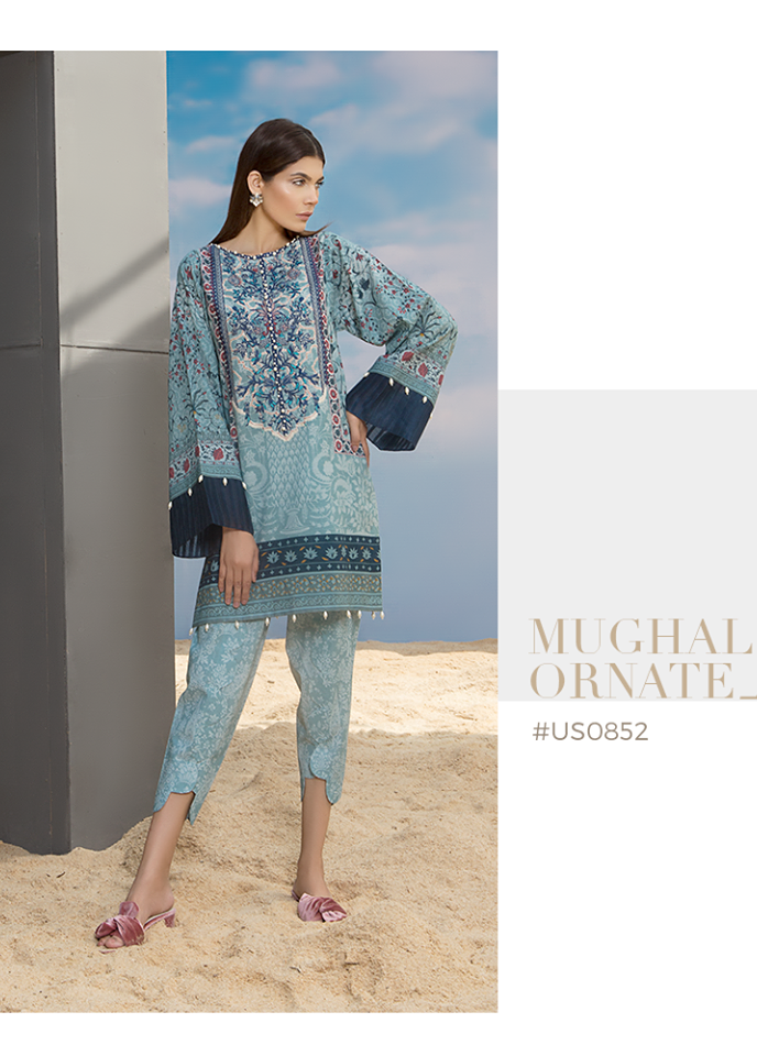 Sapphire Embroidered Khaddar Unstitched 2 Piece Suit SP17W Mughal Ornate A