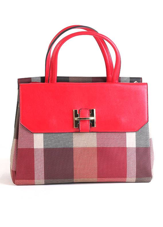 PU Leather Satchels Handbags for Women - Multi with Check Print Keyring