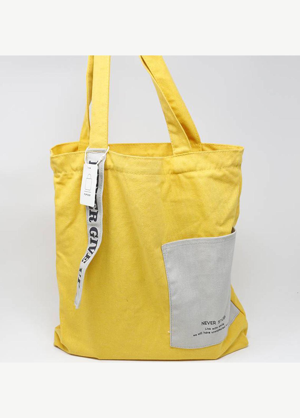 Mumuso CANVAS SHOULDER BAG-YELLOW