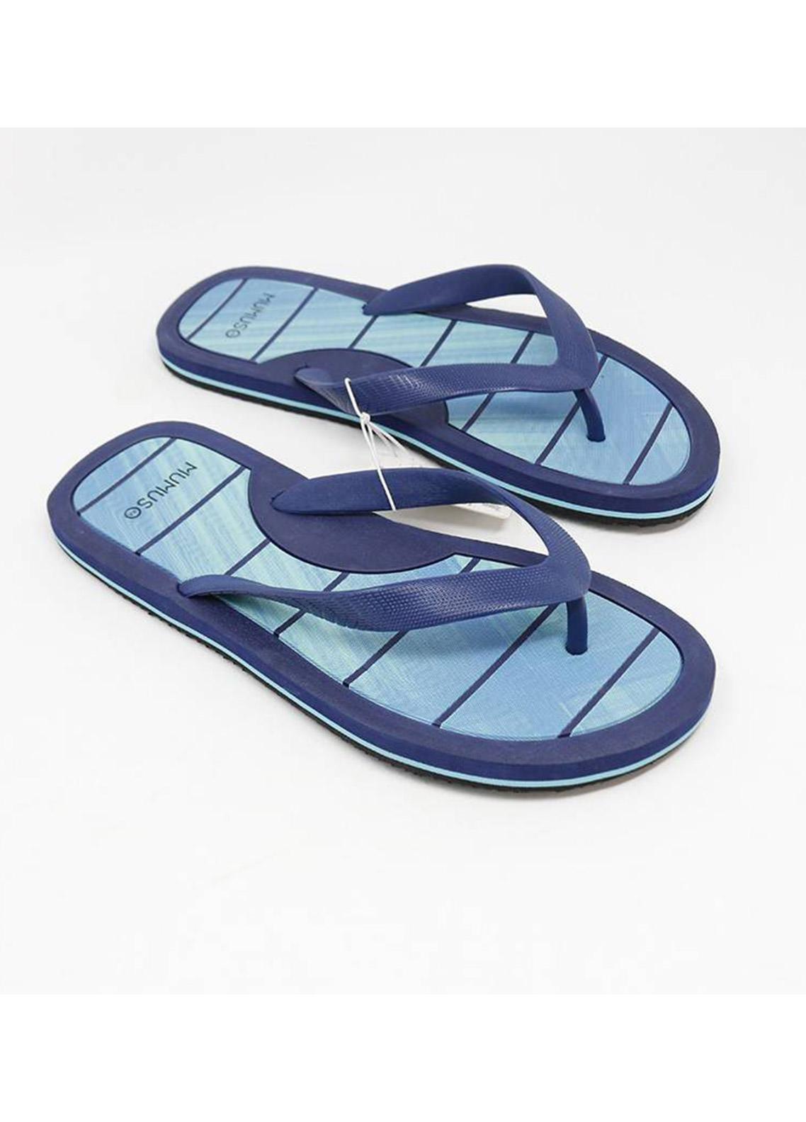 Mumuso Casual Style  Flat Flip Flop MEN-D-Blue