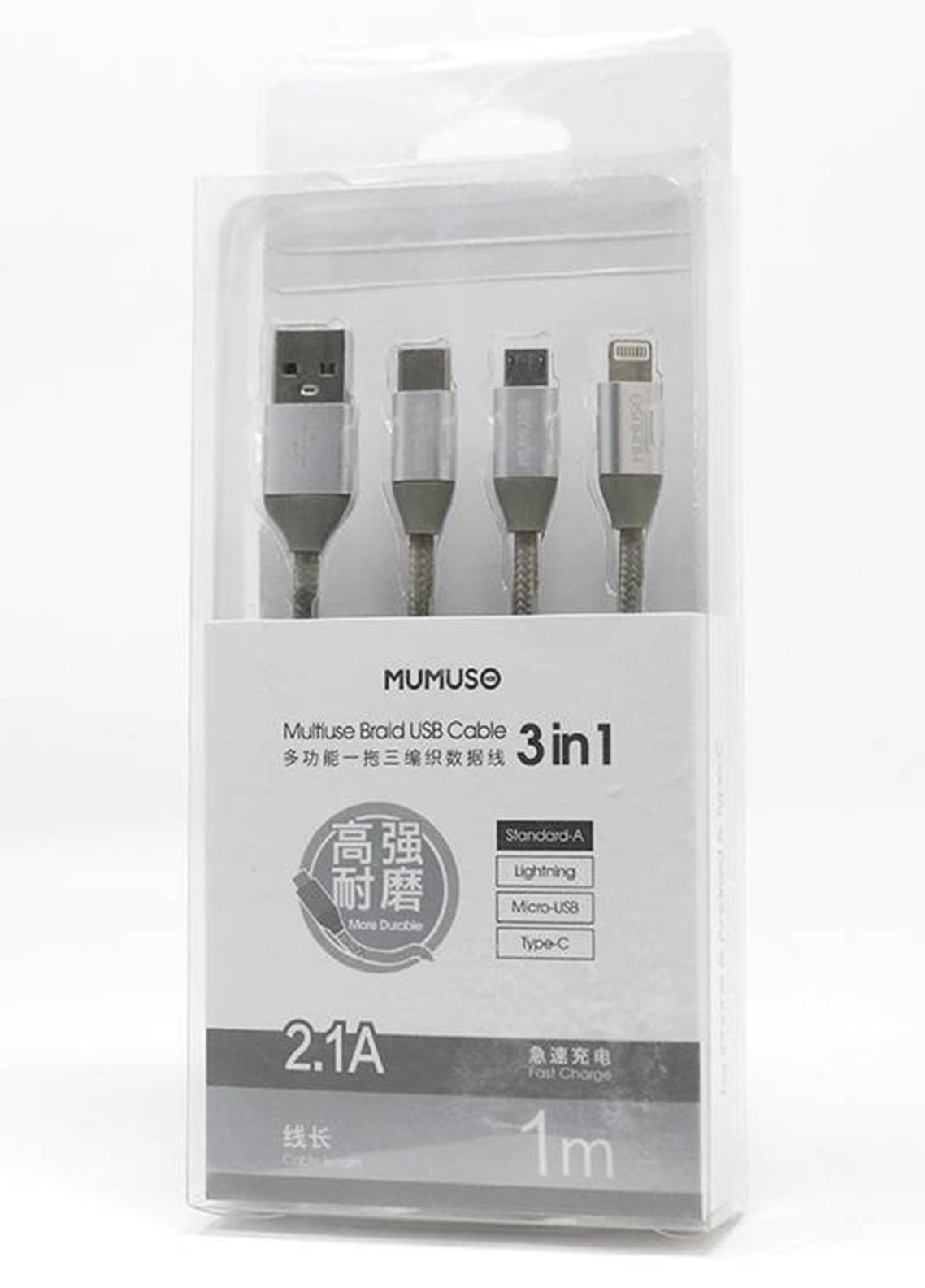Mumuso MULTIUSE BRAID USB CABLE -SILVER