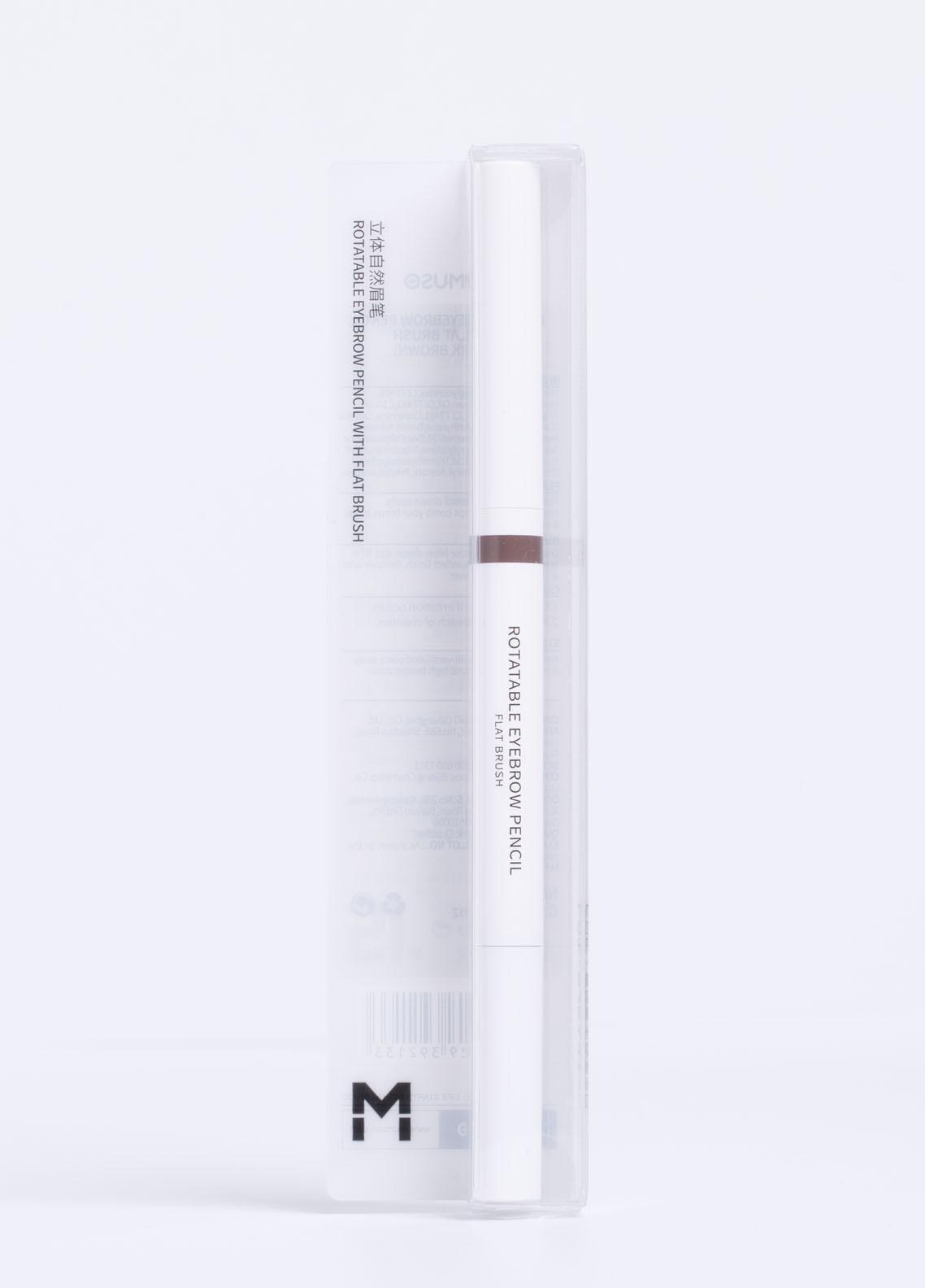 Mumuso ROTATABLE EYEBROW PENCIL WITH FLAT BRUSH (8 DARK BROWN)