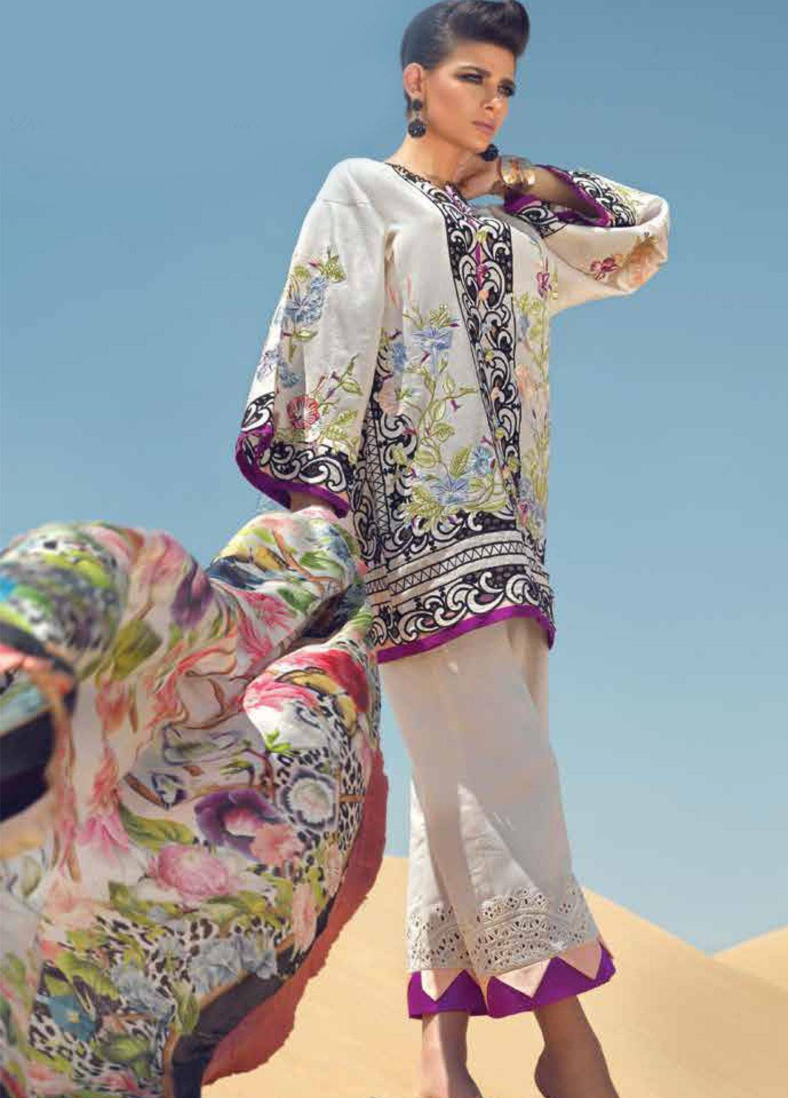 Mushq Embroidered Lawn Unstitched 3 Piece Suit MSQ19F 02 MIRAJ - Eid Collection