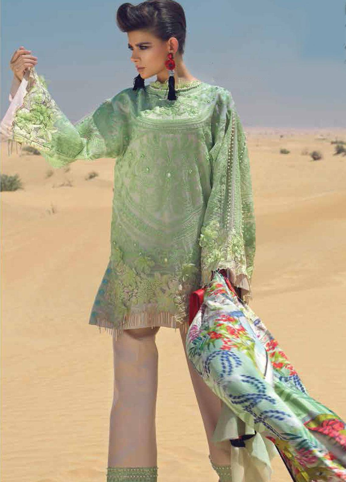 Mushq Embroidered Organza Unstitched 3 Piece Suit MSQ19F 03 OASIS - Eid Collection