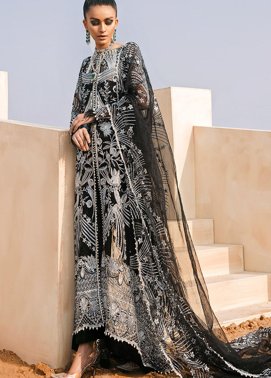 Tales of the Desert by Mushq Embroidered Net Unstitched 3 Piece Suit MQ21TD 06 PHANTOM - Wedding Collection