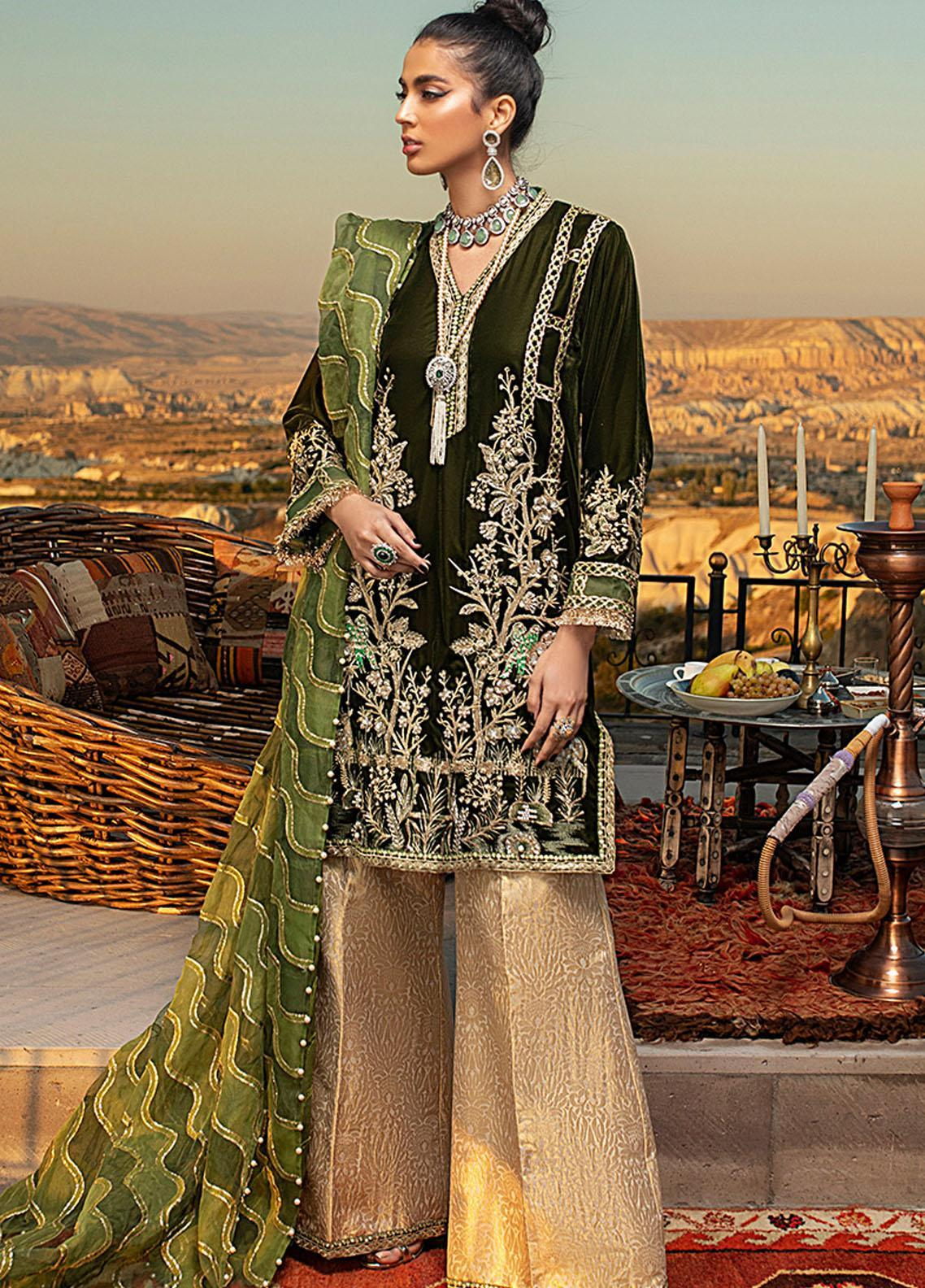 Winter Sky by Mushq Embroidered Velvet Unstitched 3 Piece Suit MQ20W 02 Jadesheen - Winter Collection