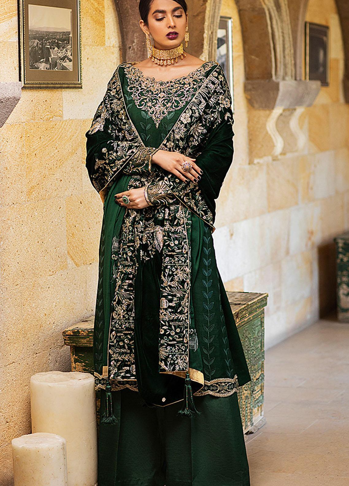 Winter Sky by Mushq Embroidered Raw Silk Unstitched 3 Piece Suit MQ20W 04 Ivy - Winter Collection