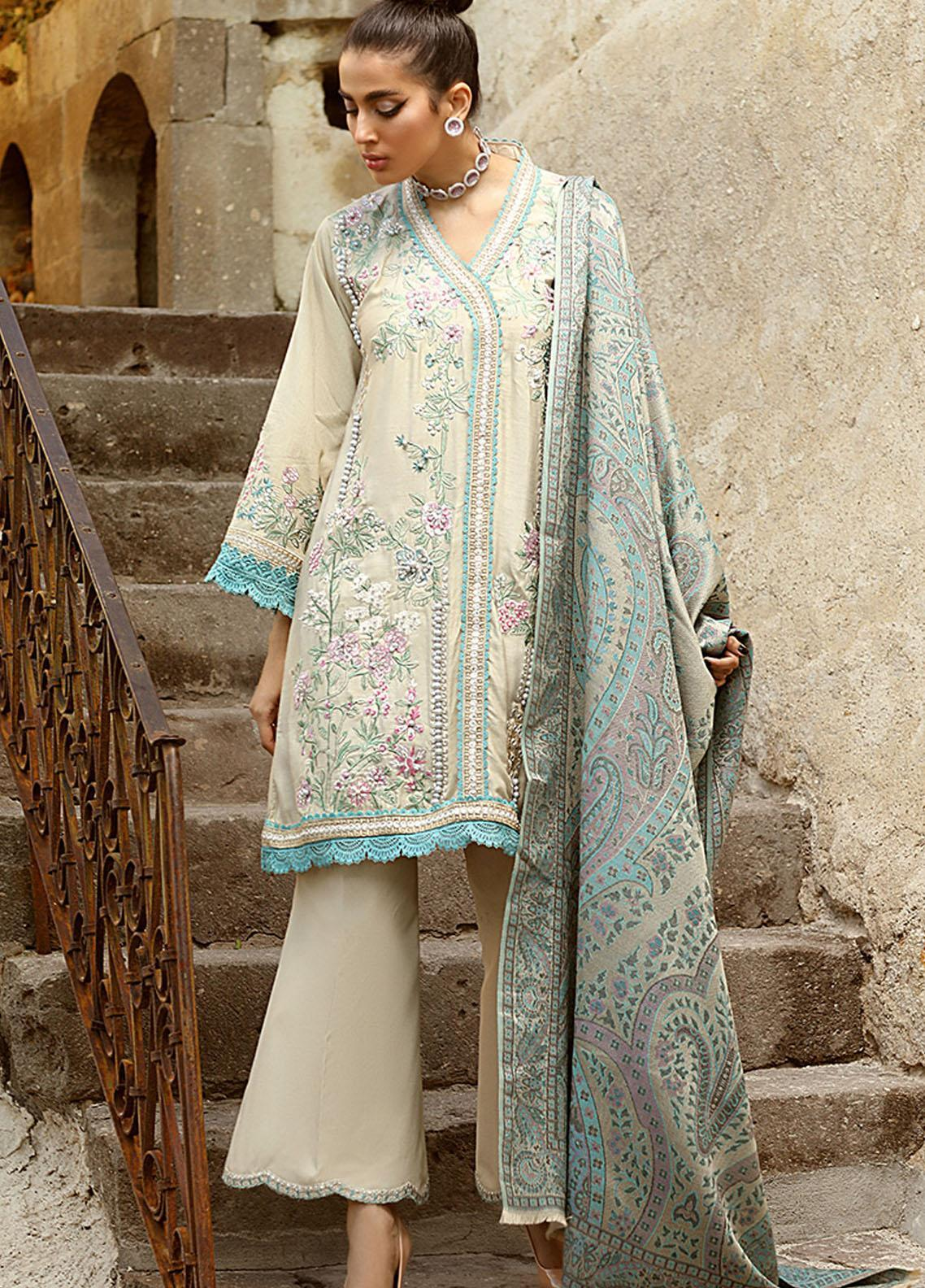 Winter Sky by Mushq Embroidered Raw Silk Unstitched 3 Piece Suit MQ20W 08 Lagoon - Winter Collection