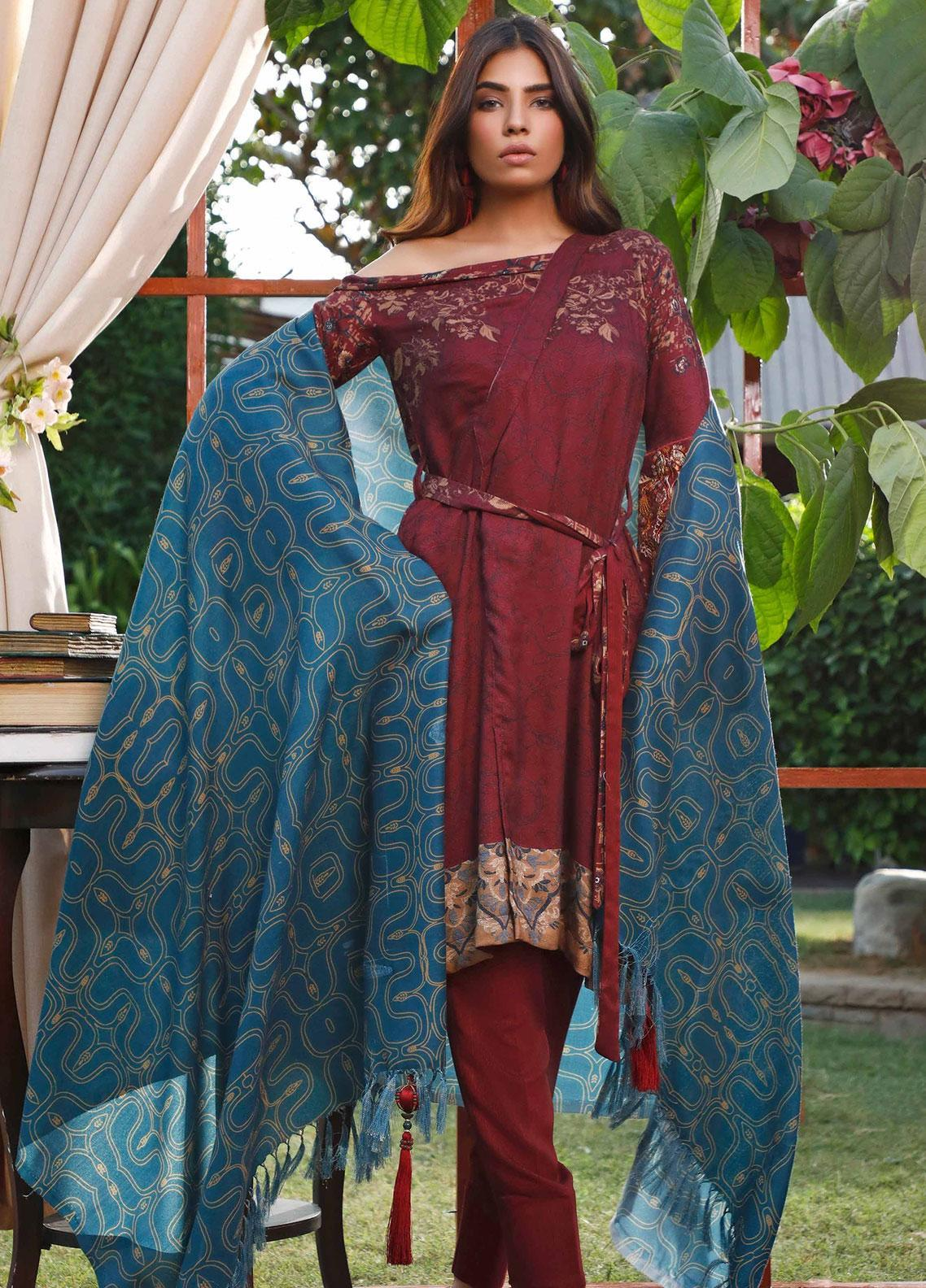 Mystique Embroidered Jacquard Unstitched 3 Piece Suit MYS19W 01 - Winter Collection