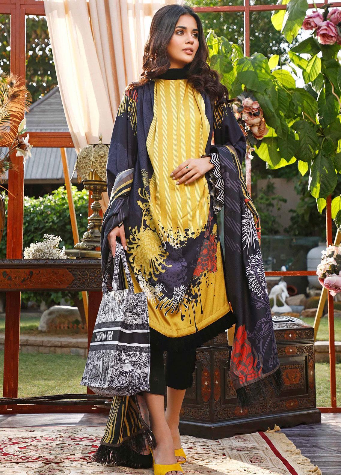 Mystique Embroidered Cotton Cotel Unstitched 3 Piece Suit MYS19W 03 - Winter Collection