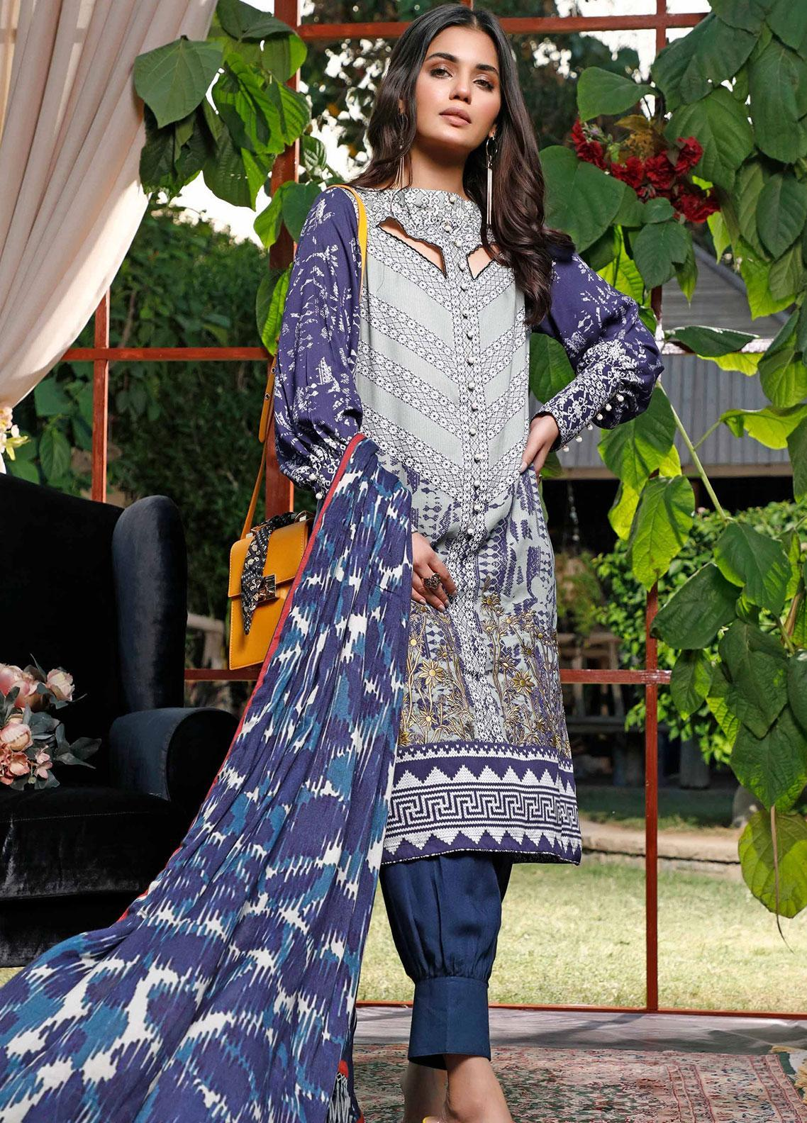 Mystique Embroidered Cotton Cotel Unstitched 3 Piece Suit MYS19W 05 - Winter Collection