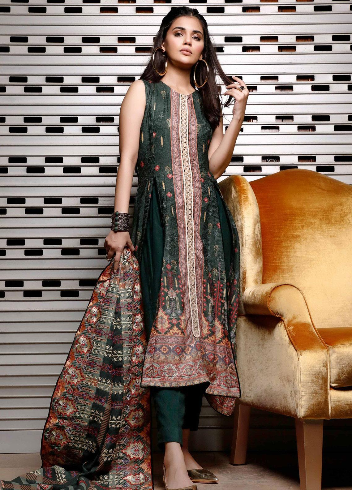Mystique Embroidered Jacquard Unstitched 3 Piece Suit MYS19W 07 - Winter Collection