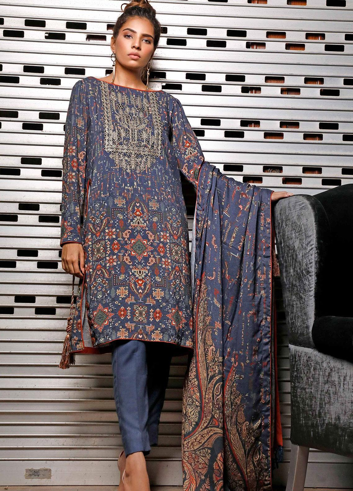 Mystique Embroidered Leather Unstitched 3 Piece Suit MYS19W 10 - Winter Collection