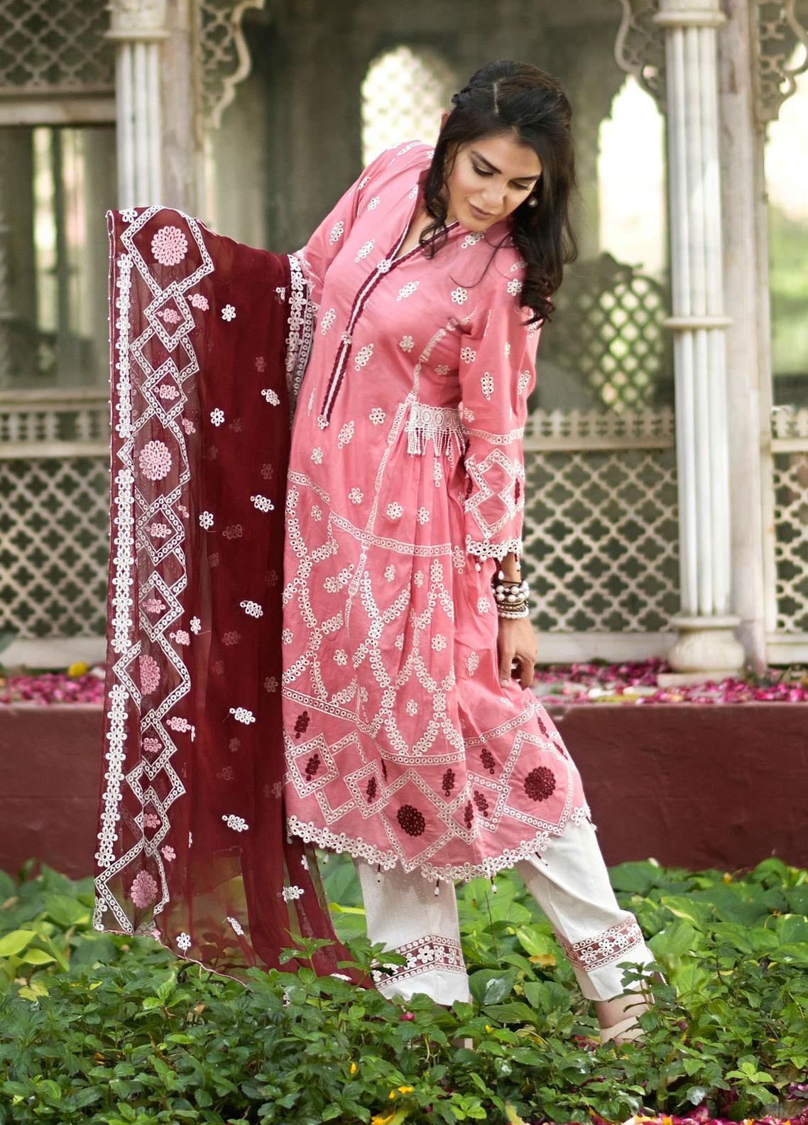 Nazia Malik Chikankari Lawn Suits Unstitched 3 Piece NZM21L 02-Blossom - Luxury Collection