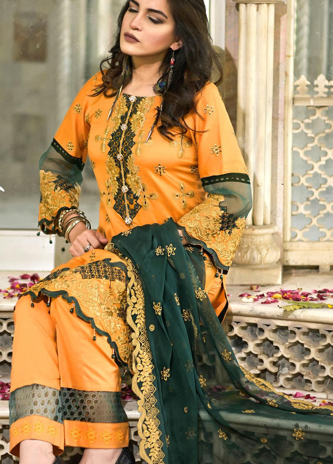 Nazia Malik Chikankari Lawn Suits Unstitched 3 Piece NZM21L 03-Glory - Luxury Collection
