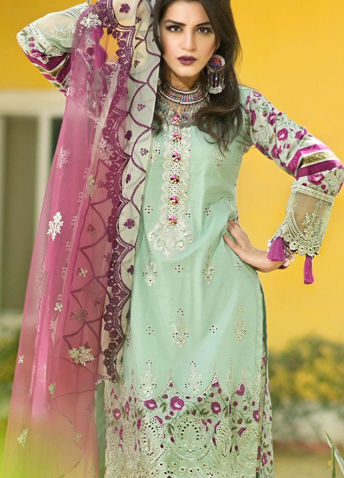 Nazia Malik Chikankari Lawn Suits Unstitched 3 Piece NZM21L 04-Orchard Green - Luxury Collection