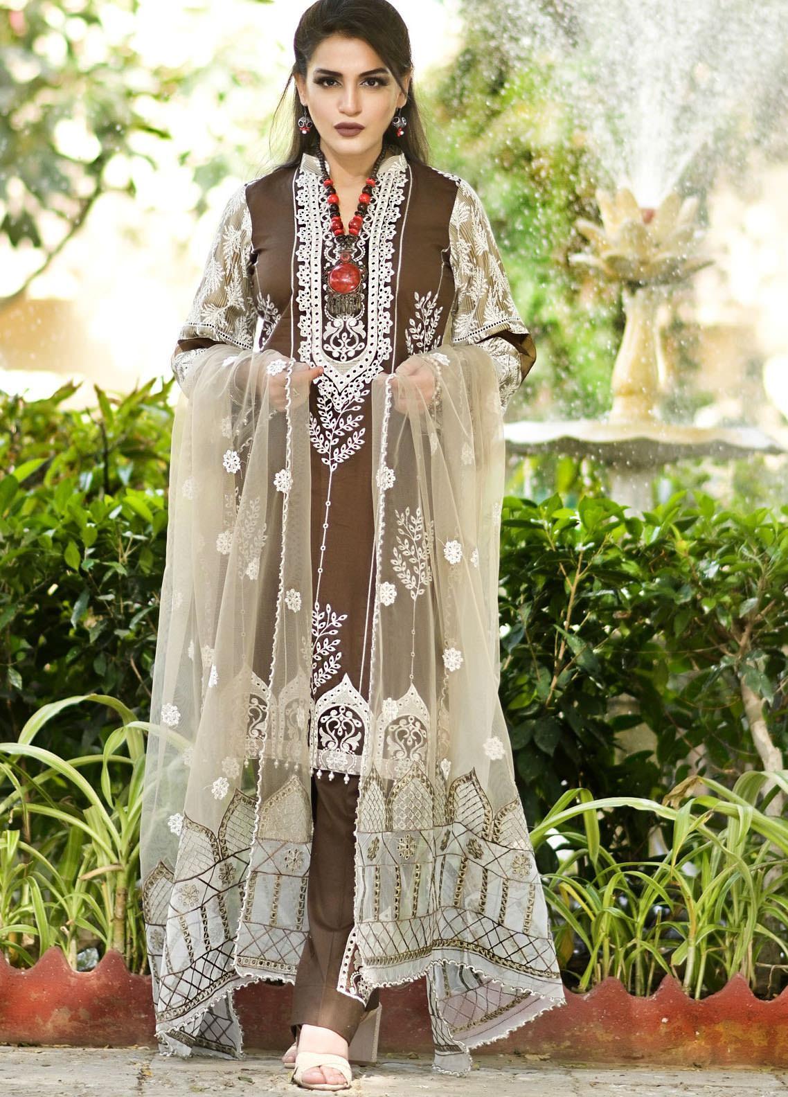 Nazia Malik Chikankari Lawn Suits Unstitched 3 Piece NZM21L 05-Elfin - Luxury Collection