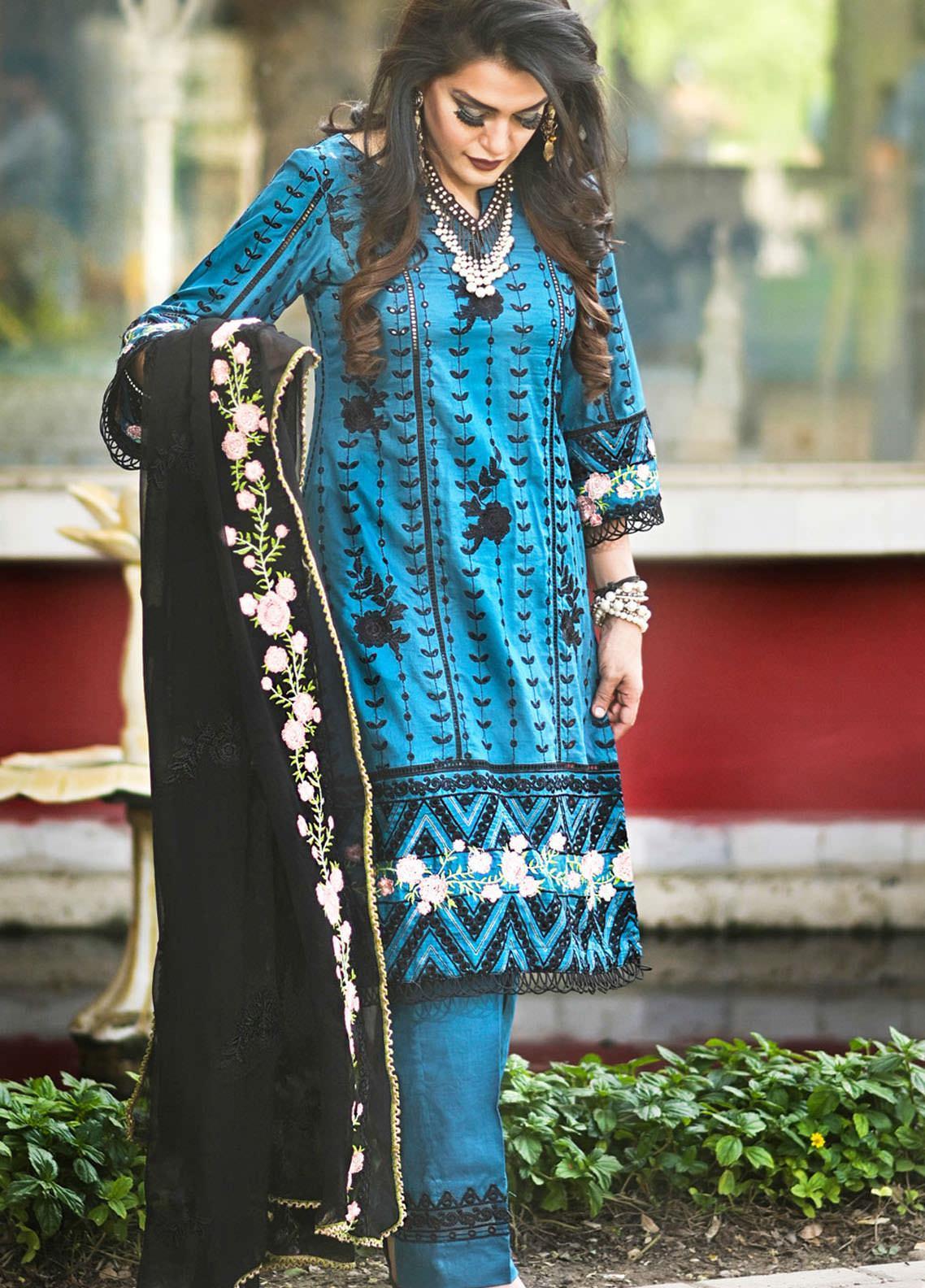 Nazia Malik Chikankari Lawn Suits Unstitched 3 Piece NZM21L 07-Jasmine - Luxury Collection