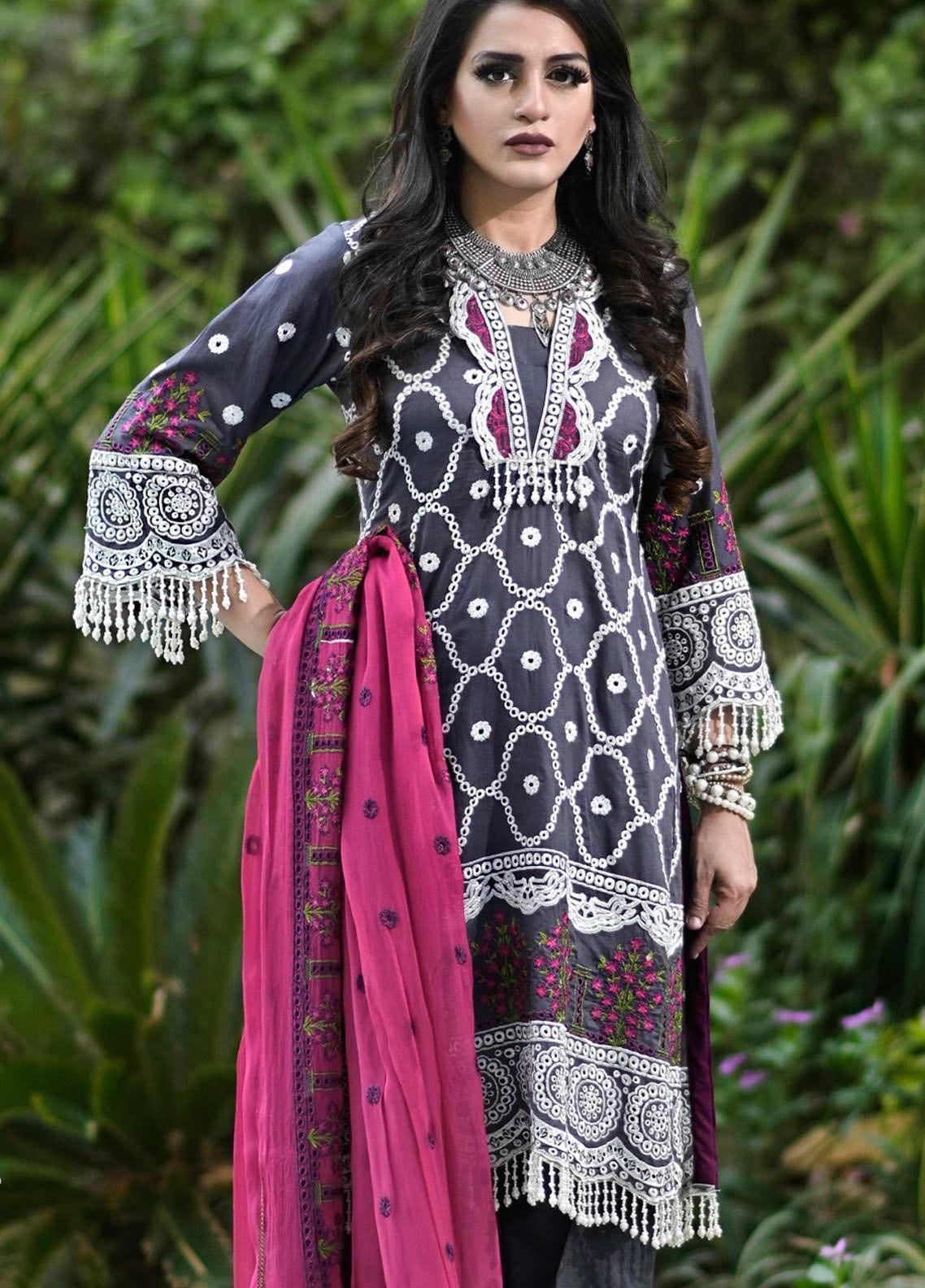 Nazia Malik Chikankari Lawn Suits Unstitched 3 Piece NZM21L 08-Magnolia - Luxury Collection