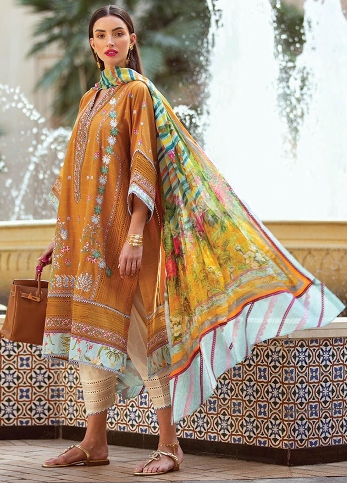 NERA by Farah Talib Embroidered Lawn Suits Unstitched 3 Piece FTA21N 01 Fidel - Summer Collection