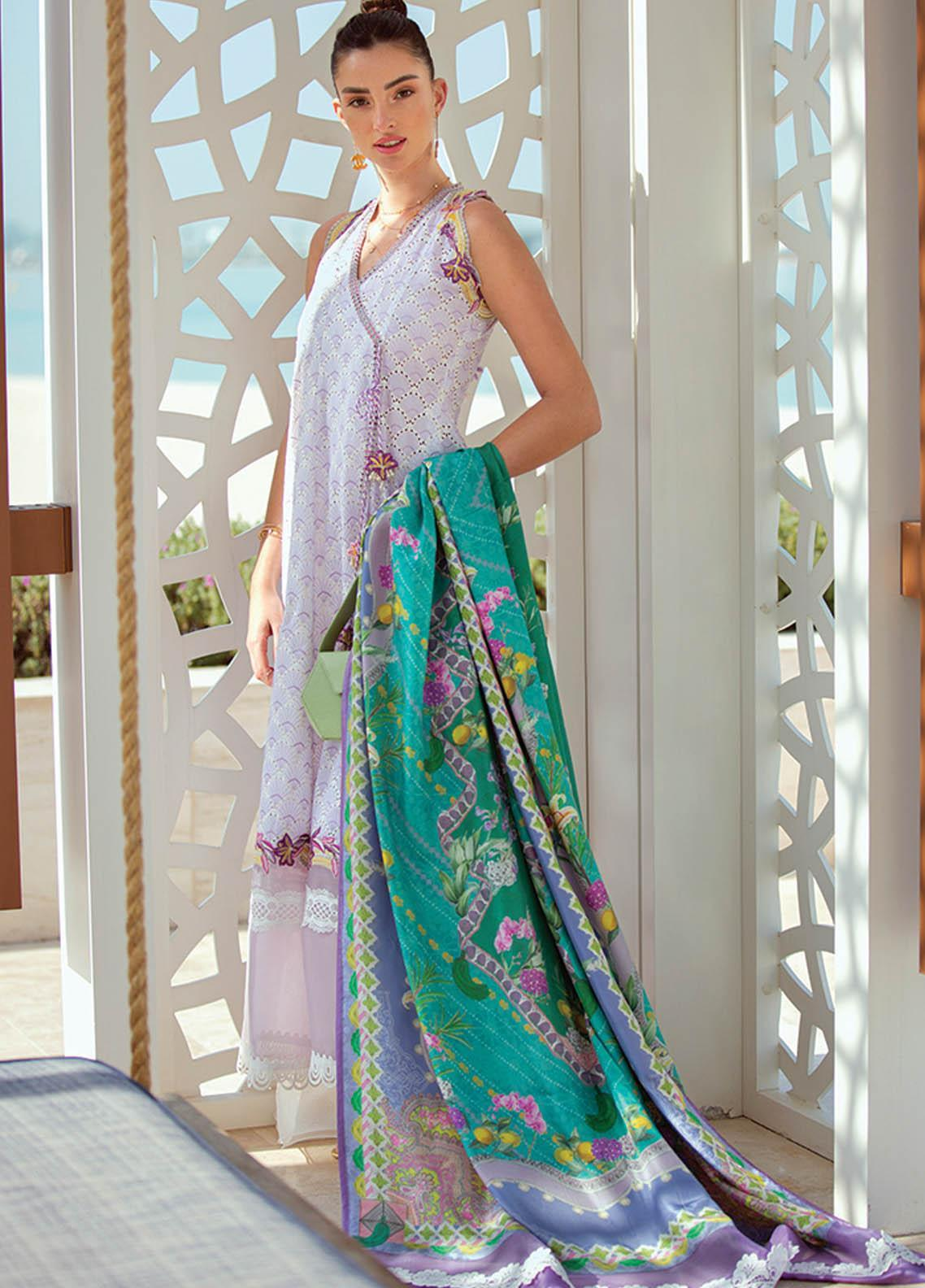 NERA by Farah Talib Embroidered Lawn Suits Unstitched 3 Piece FTA21N 02 Iris Bloom - Summer Collection