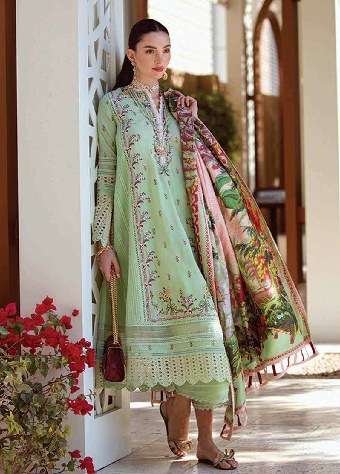 NERA by Farah Talib Embroidered Lawn Suits Unstitched 3 Piece FTA21N 03 Hewa Mint - Summer Collection