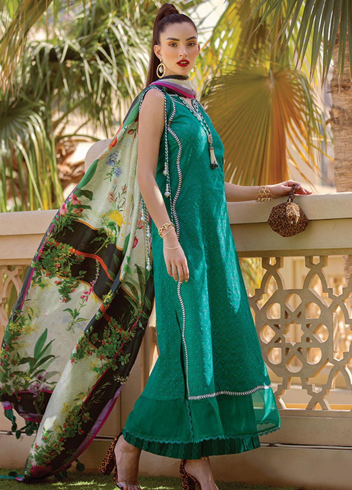 NERA by Farah Talib Embroidered Lawn Suits Unstitched 3 Piece FTA21N 04 Saki Emerald - Summer Collection