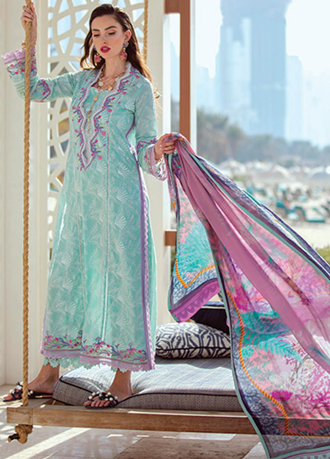 NERA by Farah Talib Embroidered Lawn Suits Unstitched 3 Piece FTA21N 06 Vera Seafoam - Summer Collection