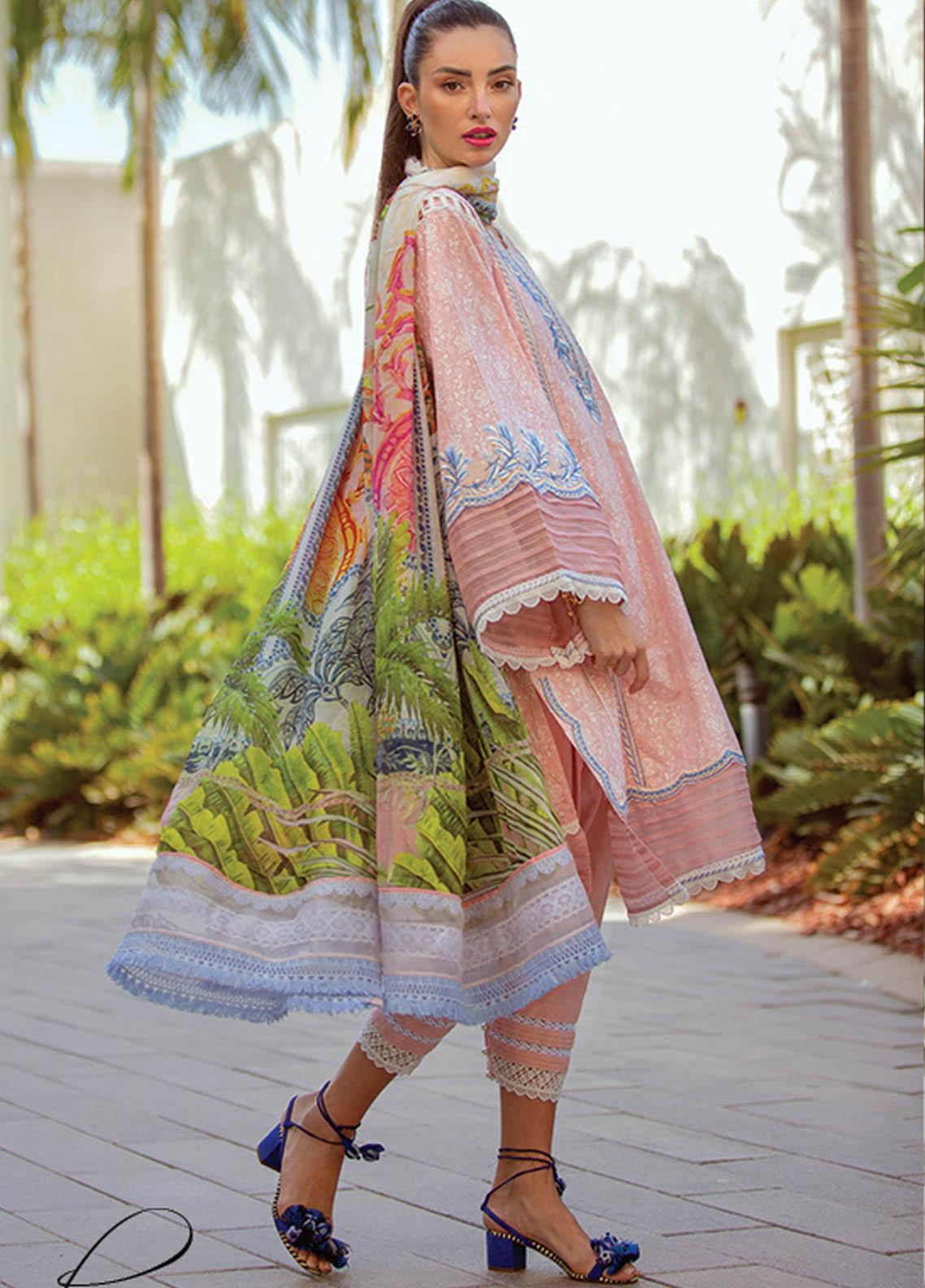 NERA by Farah Talib Embroidered Lawn Suits Unstitched 3 Piece FTA21N 08 Natia Pink - Summer Collection