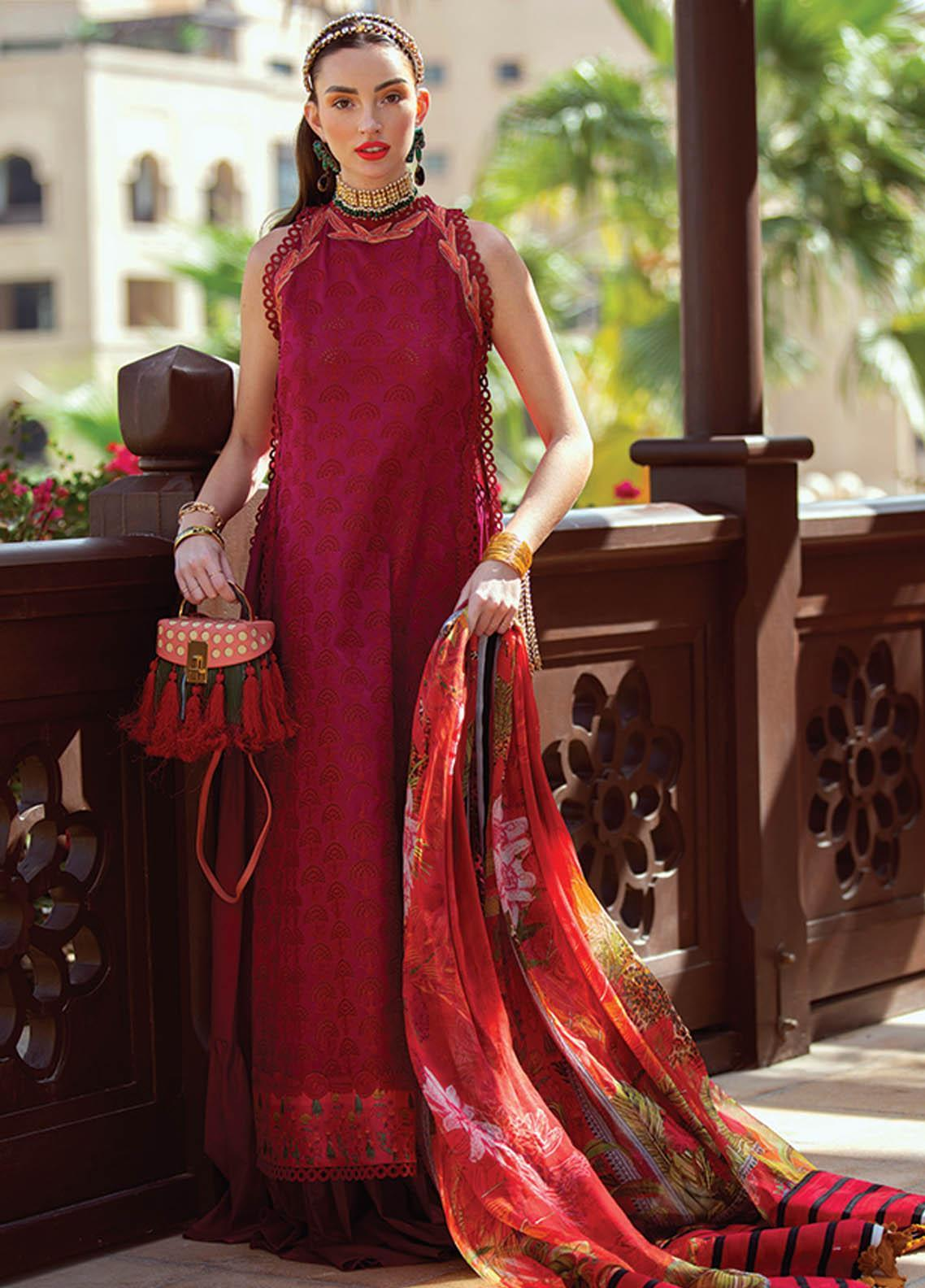 NERA by Farah Talib Embroidered Lawn Suits Unstitched 3 Piece FTA21N 10 Fia Scarlett - Summer Collection