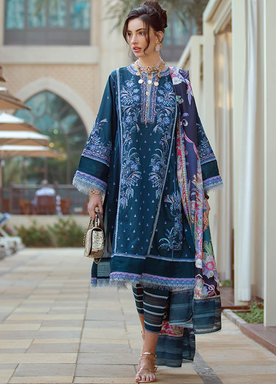 NERA by Farah Talib Embroidered Lawn Suits Unstitched 3 Piece FTA21N 11 Kaia Teal - Summer Collection