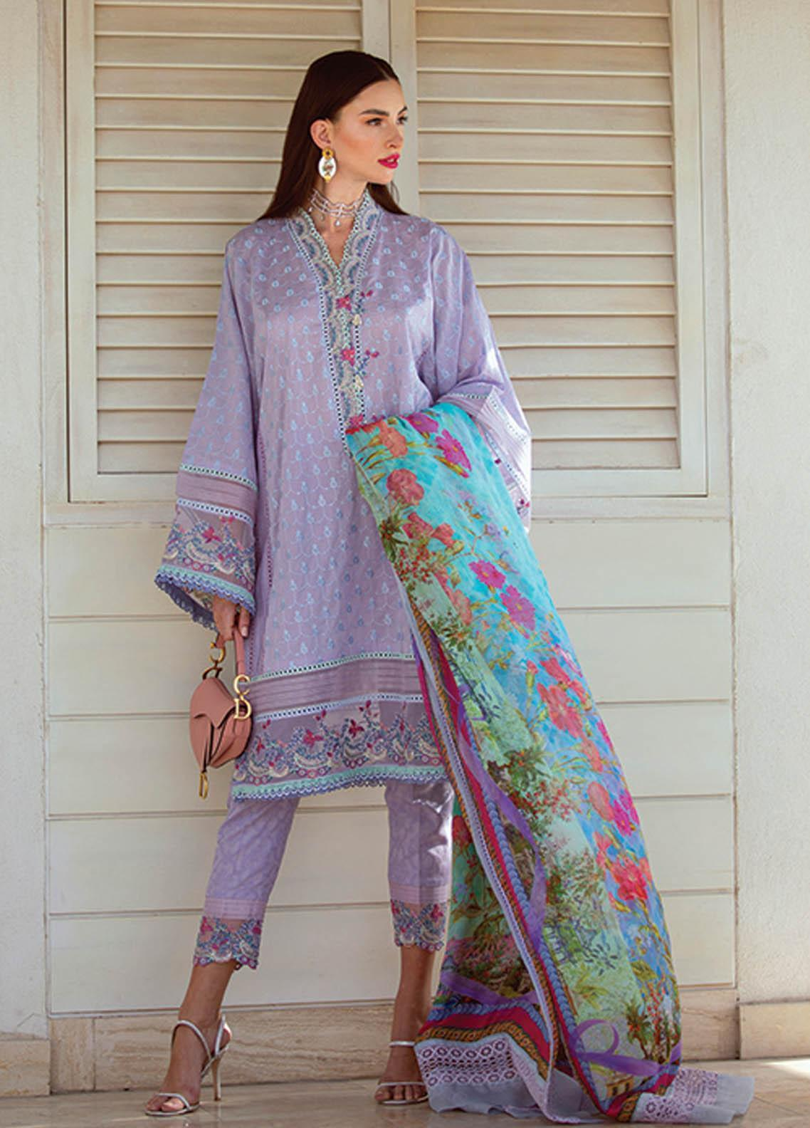NERA by Farah Talib Embroidered Lawn Suits Unstitched 3 Piece FTA21N 14 Lael Lavender - Summer Collection