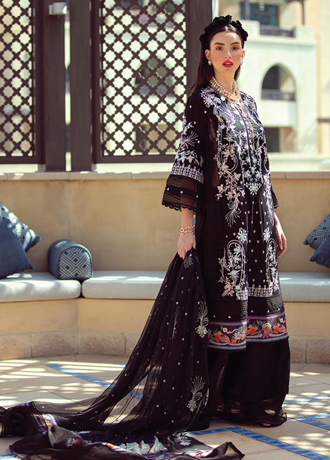 NERA by Farah Talib Embroidered Lawn Suits Unstitched 3 Piece FTA21N 15 Lita Noir - Summer Collection