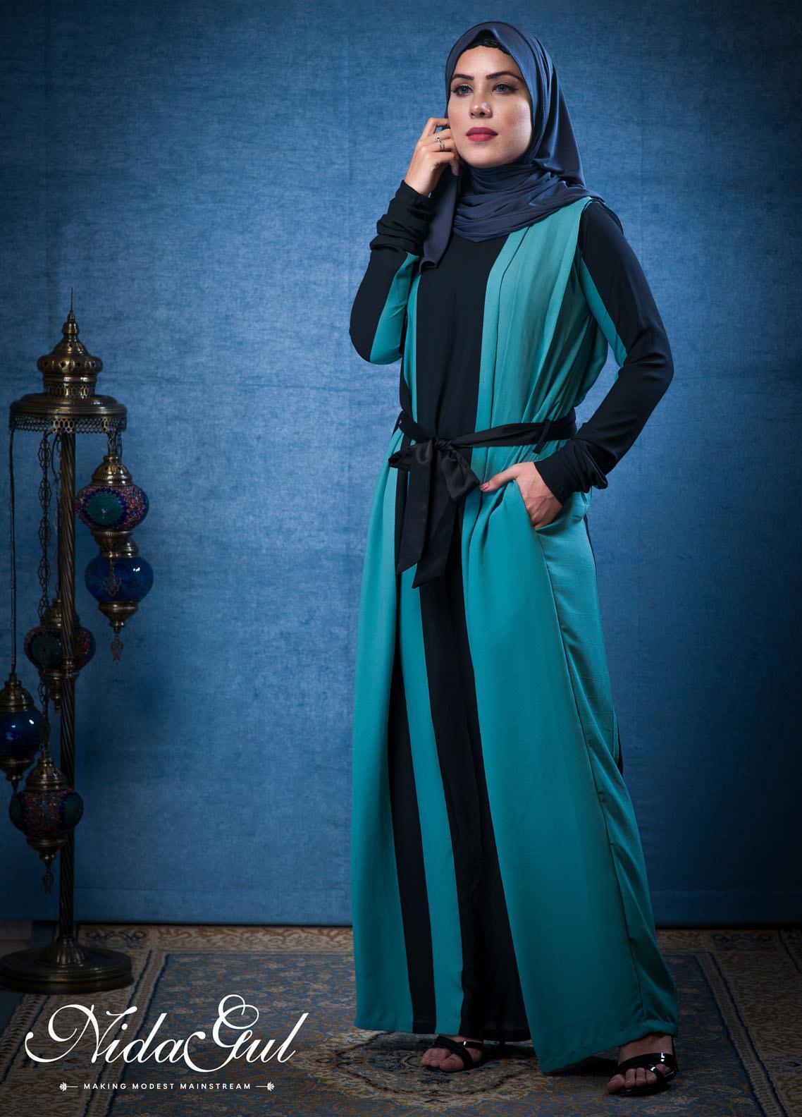 Nida Gul Fancy Georgette Stitched Abaya D-130 Bold Striped