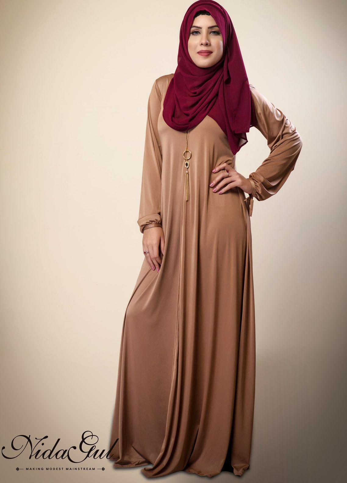 Nida Gul Fancy Jersey Stitched Abaya D-136 Chic Jersey