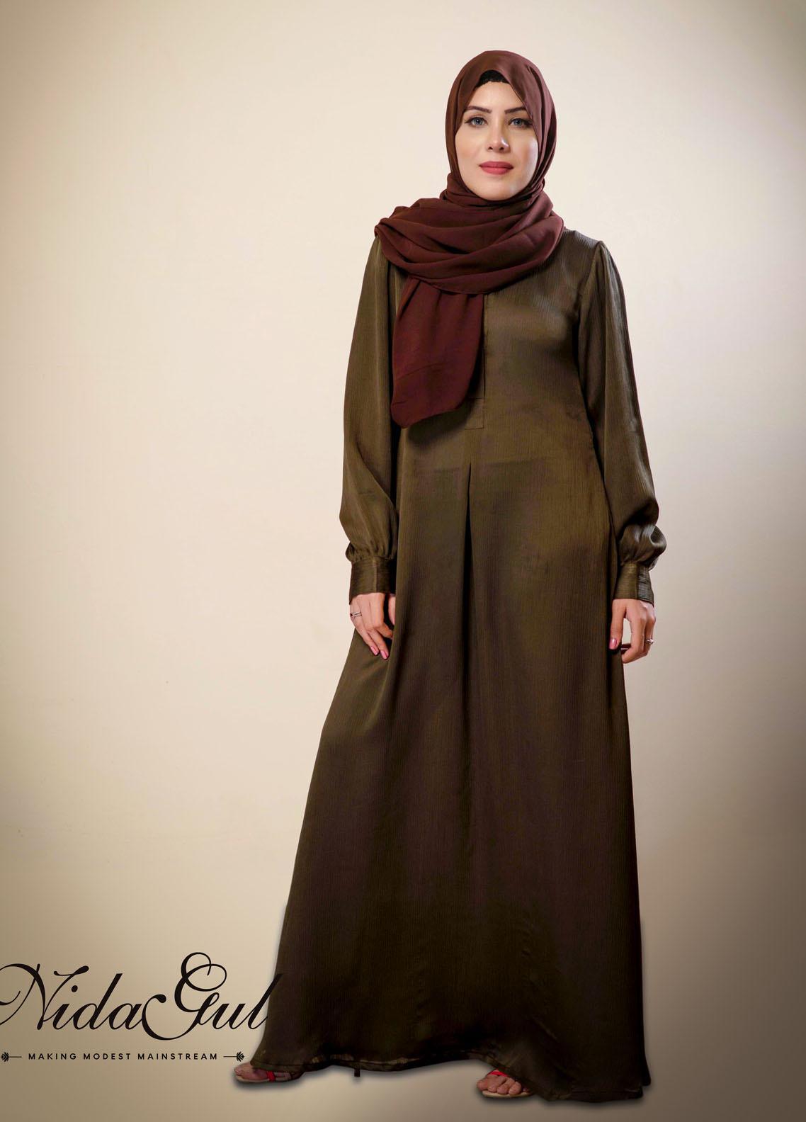 Nida Gul Fancy Satin Stitched Abaya D-138 Textured Satin