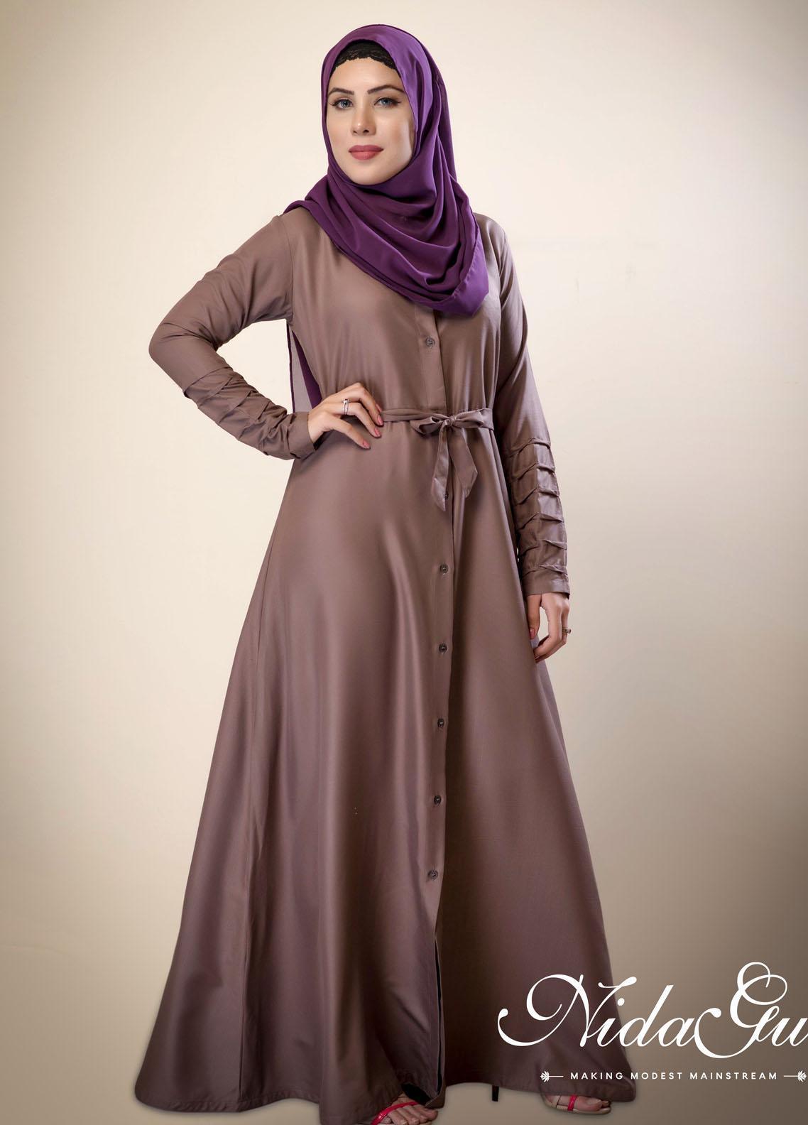 Nida Gul Fancy Cotton Stitched Abaya D-142 Button Down