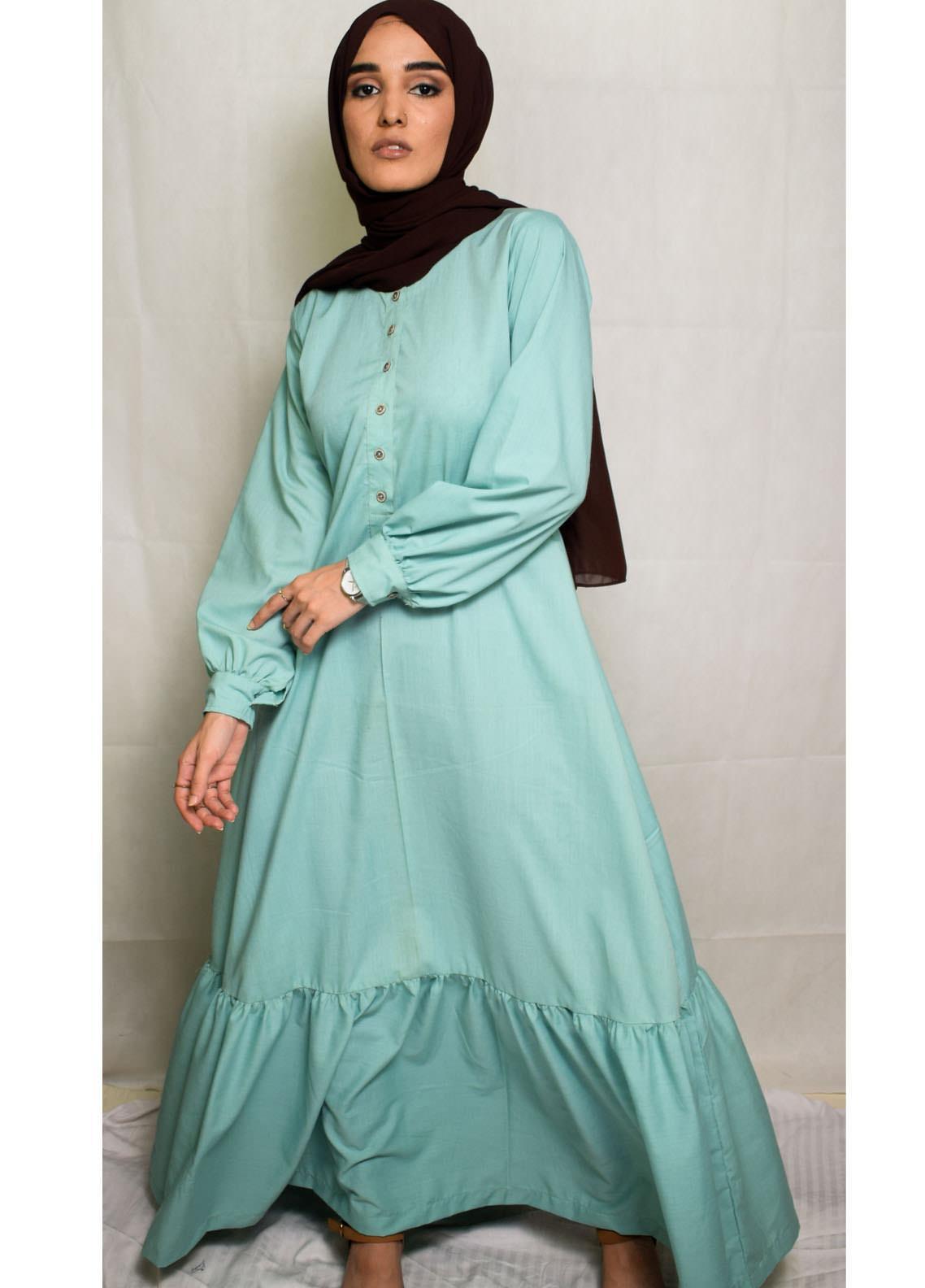Nida Gul Fancy Cotton Stitched Maxi NG20MD D-301 Eva Maxi Dress with Hijab