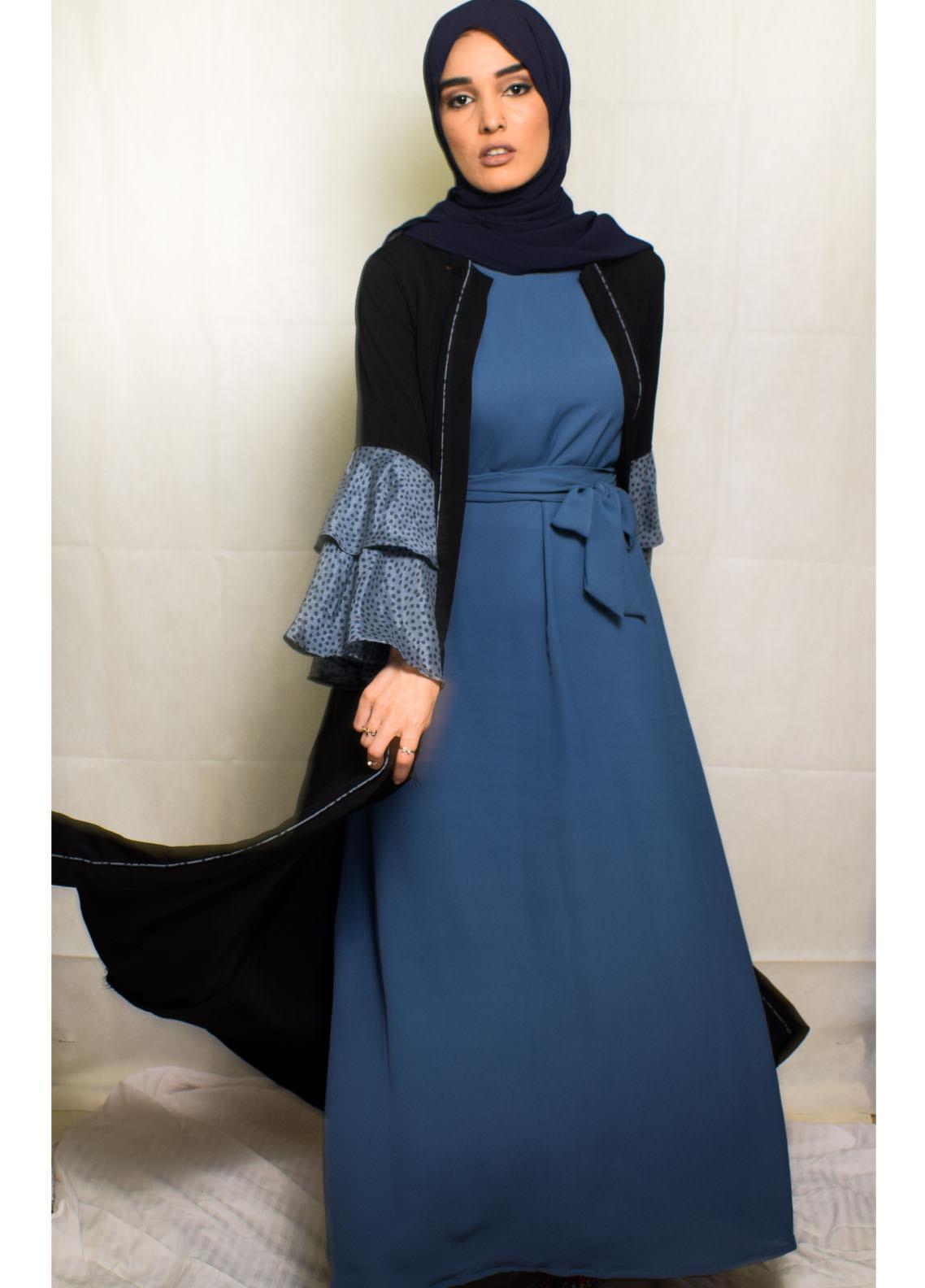 Nida Gul Fancy Wool Stitched Maxi NG20MD D-305 Taima Kimono Black with Hijab